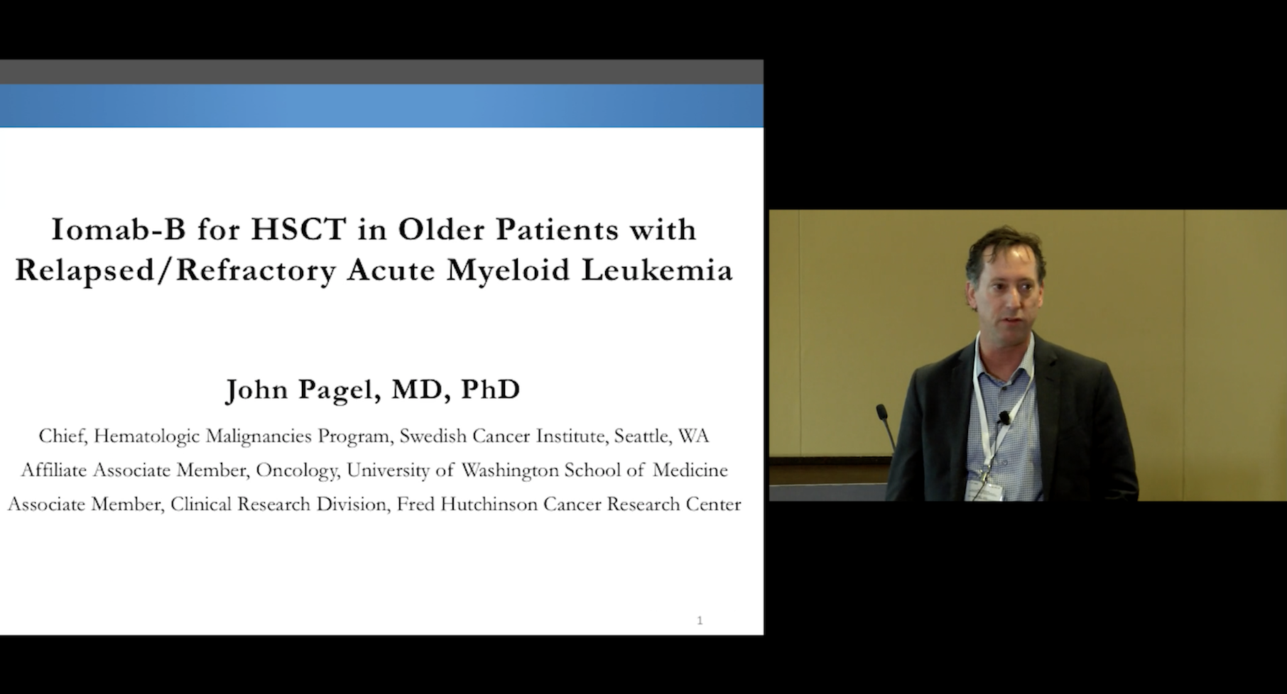 John Pagel, M.D., Ph.D. discussing Iomab-B for HSCT (bone marrow transplant) in Older Patients with Relapsed/Refractory Acute Myeloid Leukemia