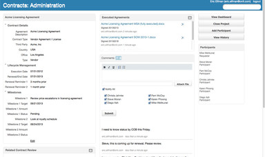 Contract Administration Screenshot