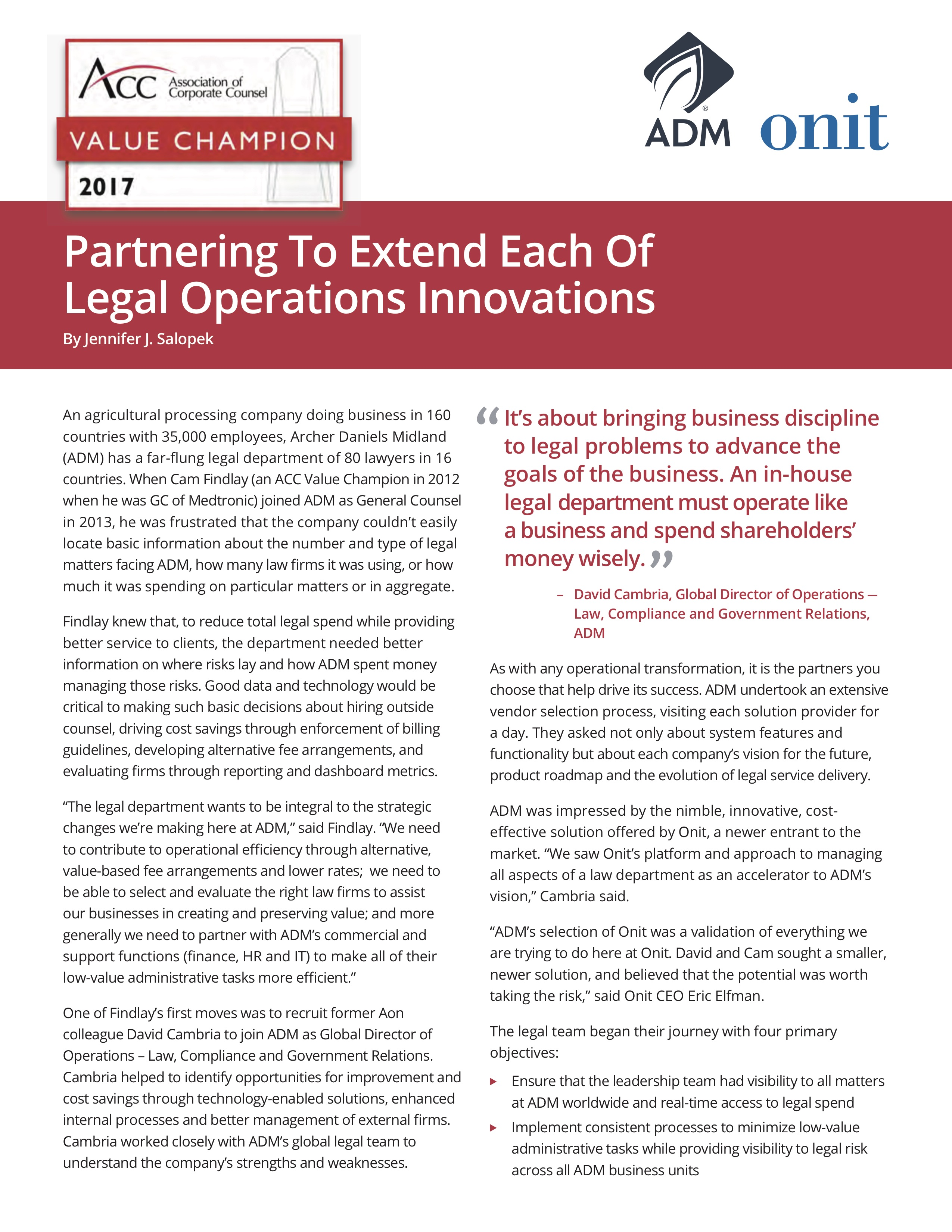 Partnering To Extend Each Of Legal Operations Innovations