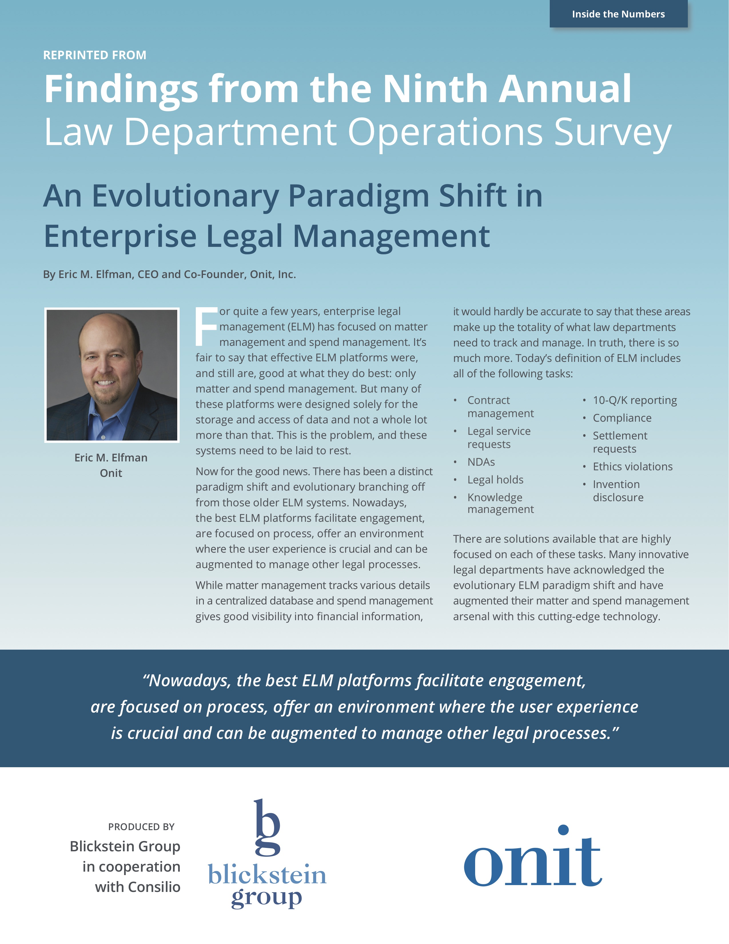 Findings from the Ninth Annual  Law Department Operations Survey