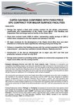 Capex Savings Confirmed With Fixed Price EPC Contract For Major Surface Facilities